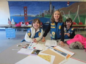 Daisy Troop 69023 making the scrapbook