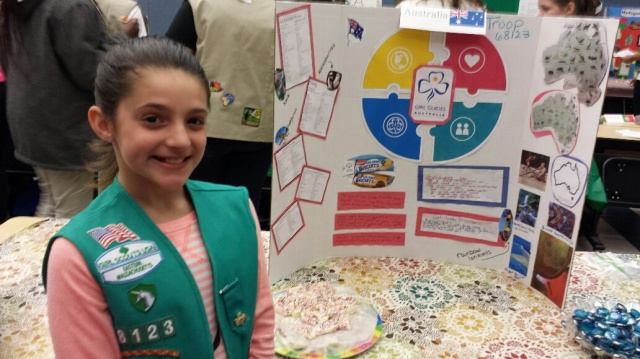 New Bedford Girl Scout from Troop 68123 who presented about Australia