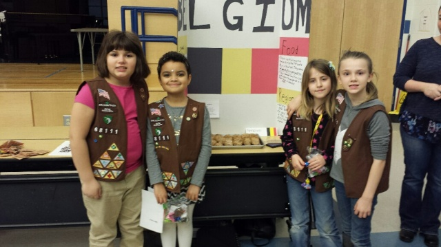 New Bedford Brownie Troop 68111 presenting about Belgium
