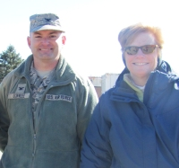GSEM's Chief Operations Officer Barb Fortier with Col. David Dunklee, 66th Air Base Group commander.