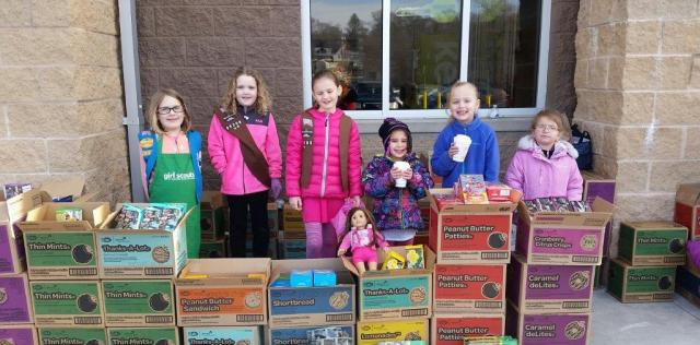 Lucy, Anna, Zuzia, Elizabeth, Haylee, and Lily from Brownie/Daisy Holbrook Troop 88208 at Walmart in Avon