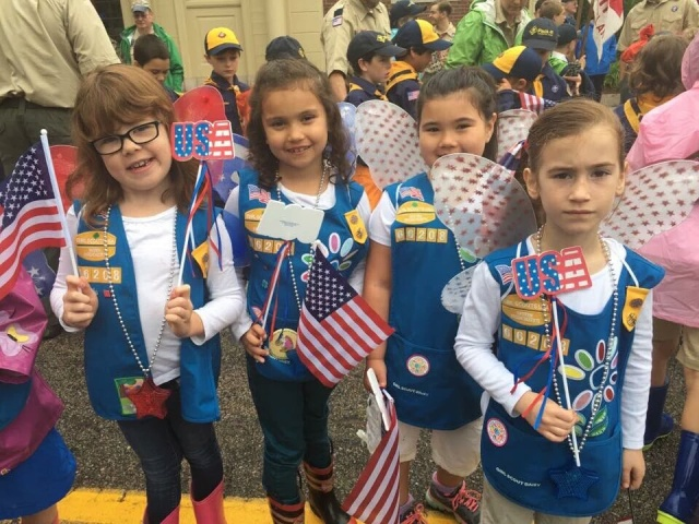 Falmouth Girl Scouts at the Memorial Day Parade