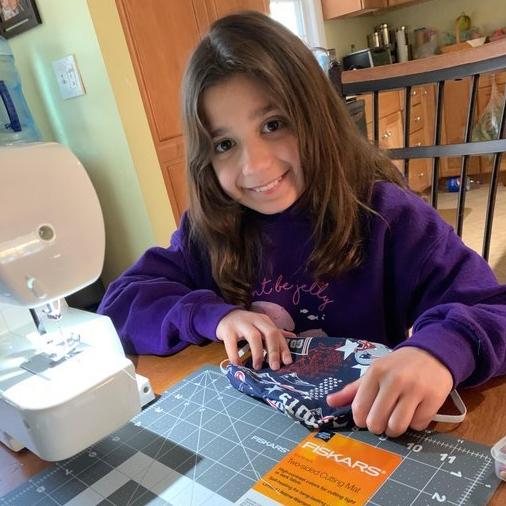 Gaby sewing